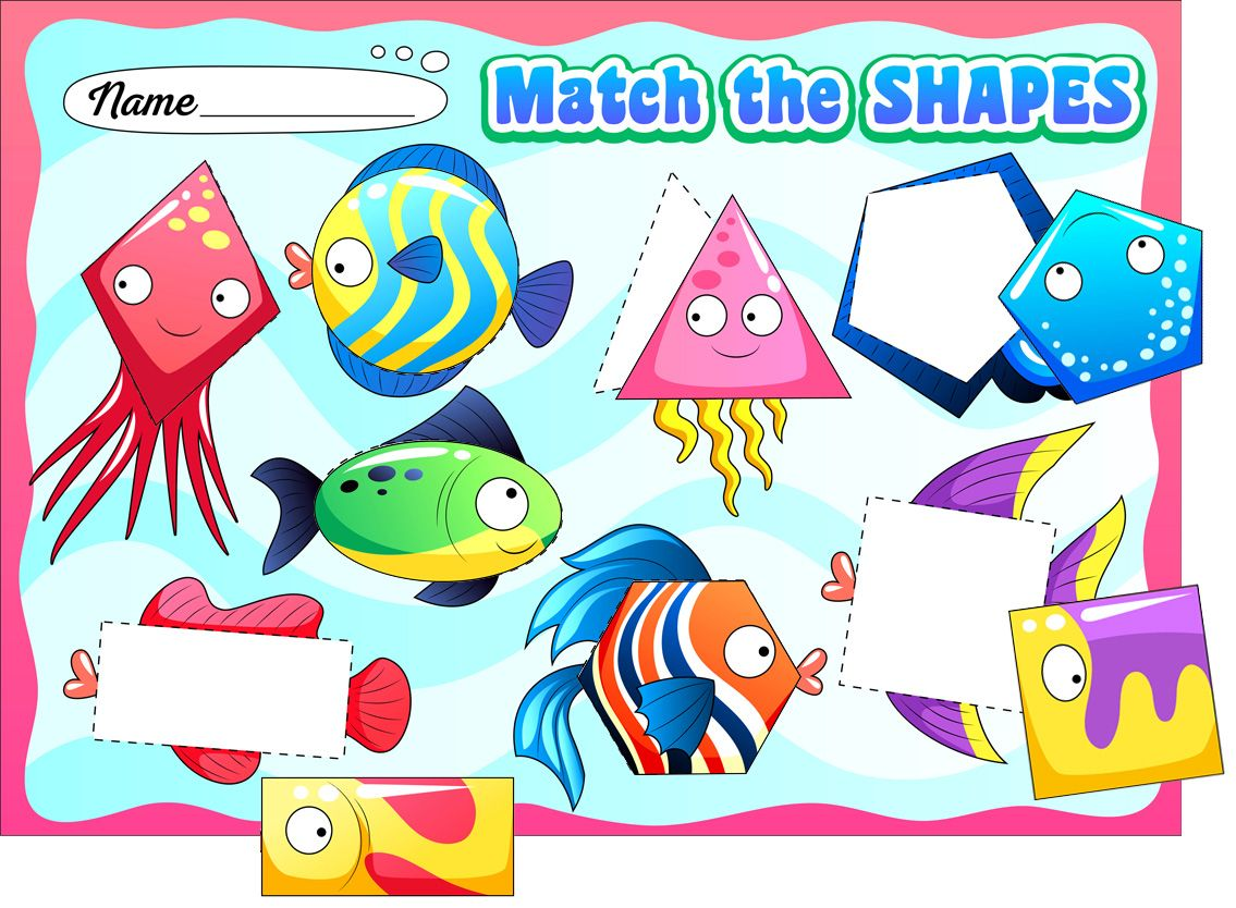 Fish Shape Matching Worksheet For Preschoolers