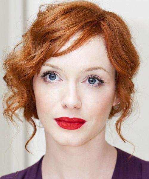 Christina Hendricks Long Curly Light Ginger Red Updo Hair
