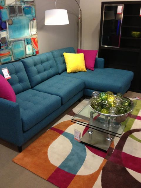 Ordinaire Stunning Blue Upholstered Living Room Sofa In Sectional Design Of Rosenthal  Furniture For Attracitve Contrast Style Interior