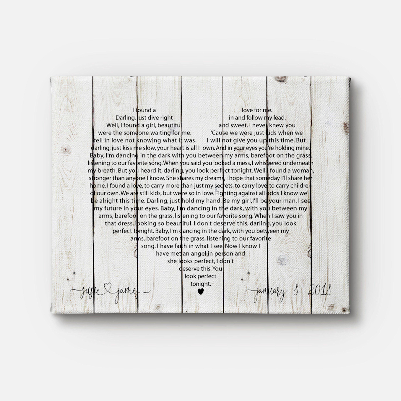 Wedding song art Wedding song canvas Wedding gift idea Heart shaped art print Song lyrics canvas Heart shaped lyrics Heart shaped canvas