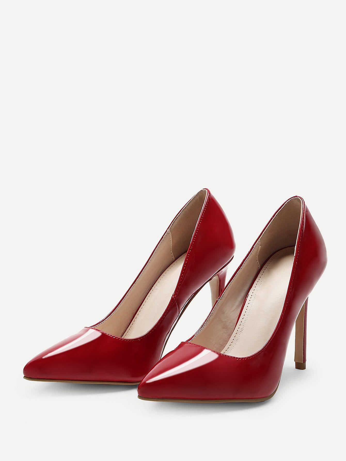 315983b37fa Elegant Point Toe Red High Heel Stiletto Plain Stiletto Heels in ...