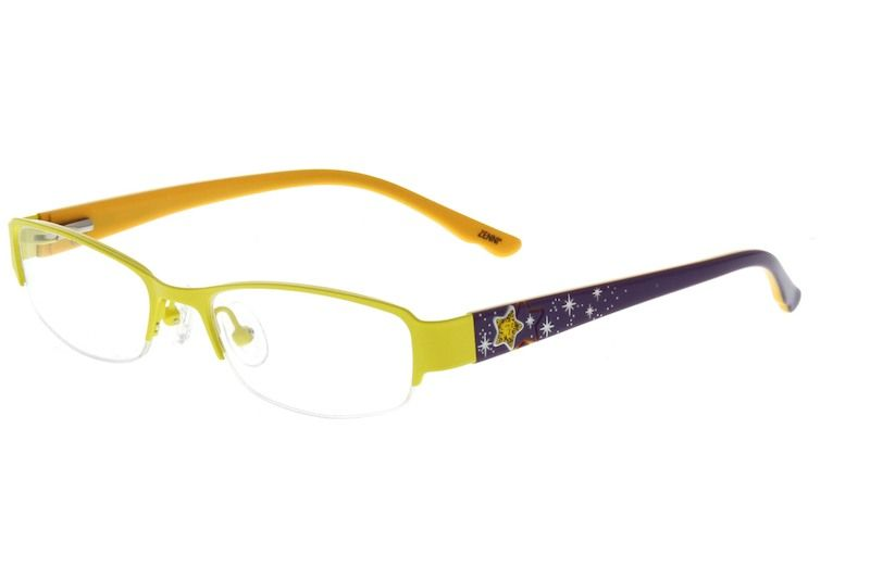 57a098ecca96 Yellow Children s Stainless Steel Half-Rim Frame with Acetate Temples and  Spring Hinges  678722