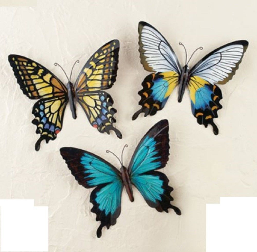 Metal Butterfly Wall Decor Colorful Unique Butterflies Indoor