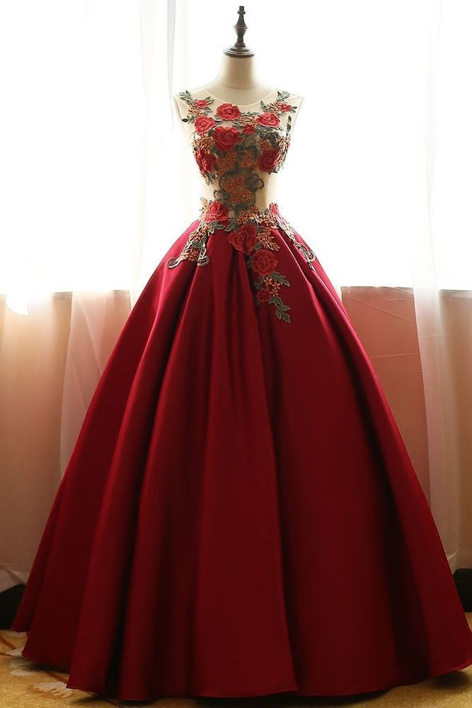 New Wine Red Wedding gown Quinceanera Pageant Ball Gown Prom Party ...