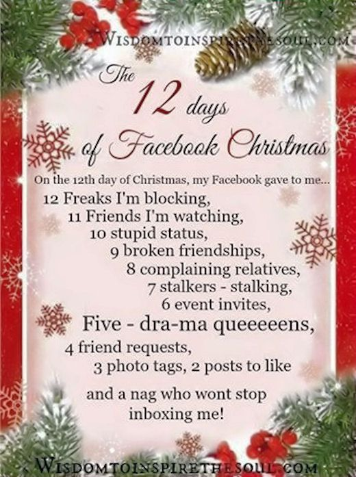 12 days of christmas on facebook funny facebook funny quotes humor ...