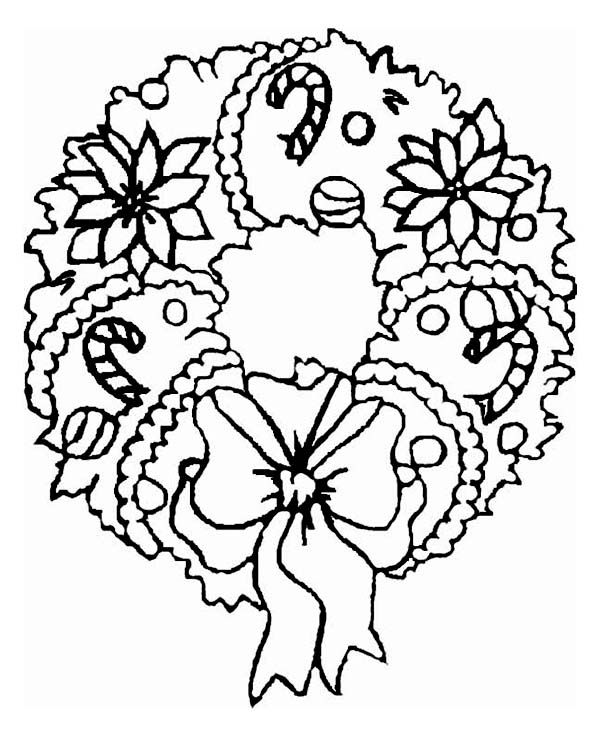 A Sweet Christmas Wreath Ornament Coloring Page Jpg 600 738 Latar Belakang