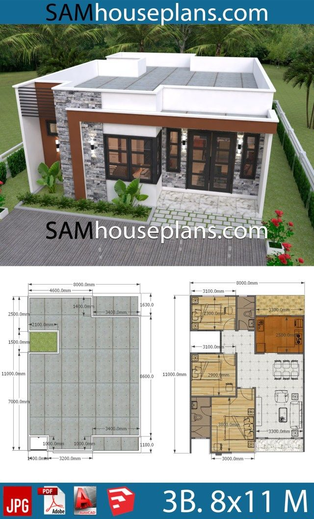 House Plans 8x11 With 3 Bedrooms Full Plans Sam House Plans Modern Bungalow House Small Modern House Plans Small House Design Plans