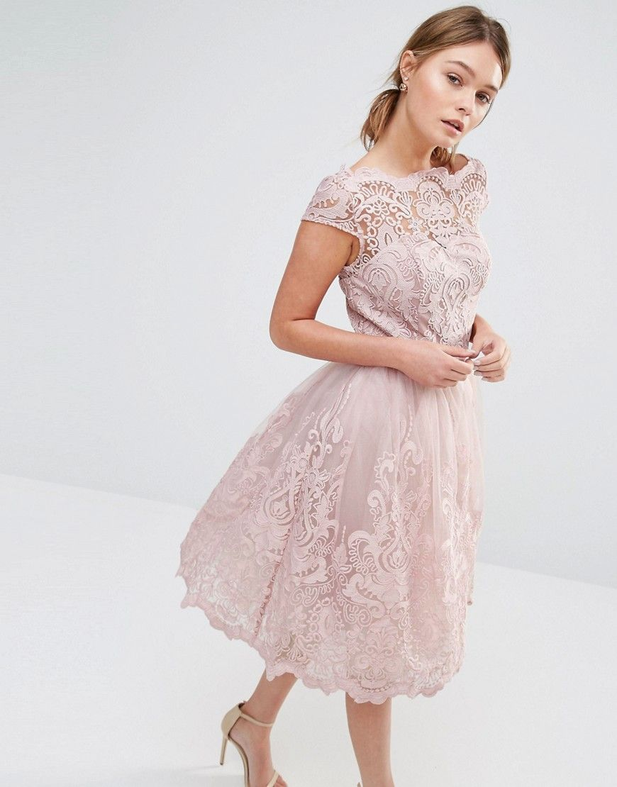 Image 1 of Chi Chi London Premium Lace Midi Prom Dress with Bardot ...