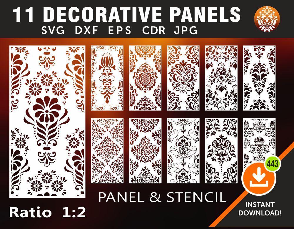 Decorative Panel Plasma AI Privacy Screen Stencil Eps Cricut Cutting Files Cdr Laser Svg Jpg Dxf Cnc Wall Handing Room Divider