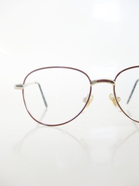 1f1145672fd7 1970s Childrens Eyeglasses - Authentic Vintage Glasses - Gold and Burgundy Wire  Rim Optical Frames -