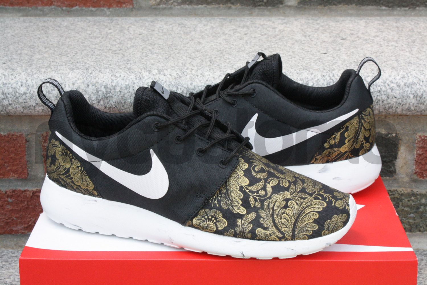 nike roshe run royal floral custom carved
