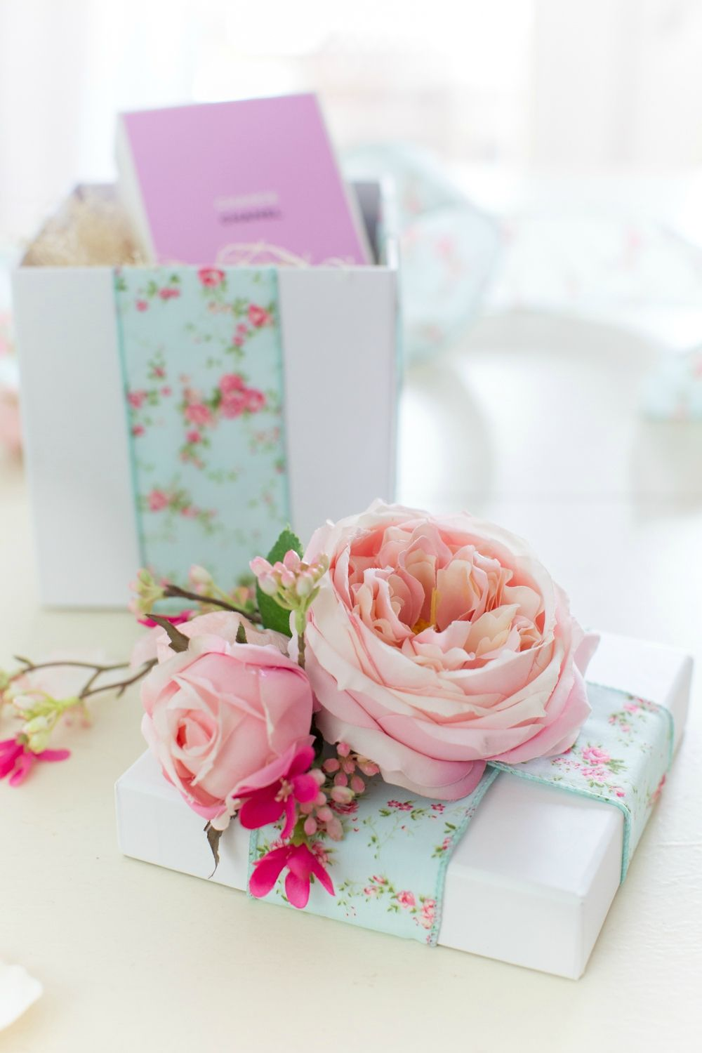 Ribbon Roses Floral Favor Embellishments Wedding Party Gift Decorations Pink