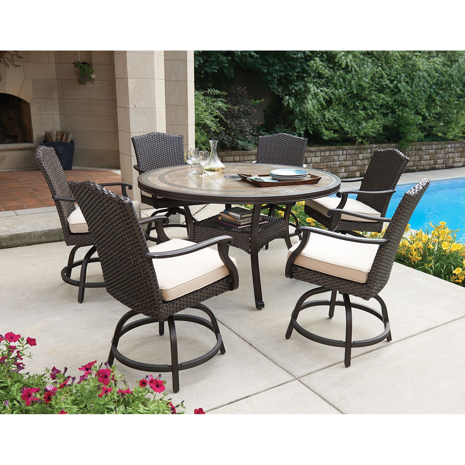 Members mark heritage 7 piece balcony height dining set with premium sunbrella fabrics sams club