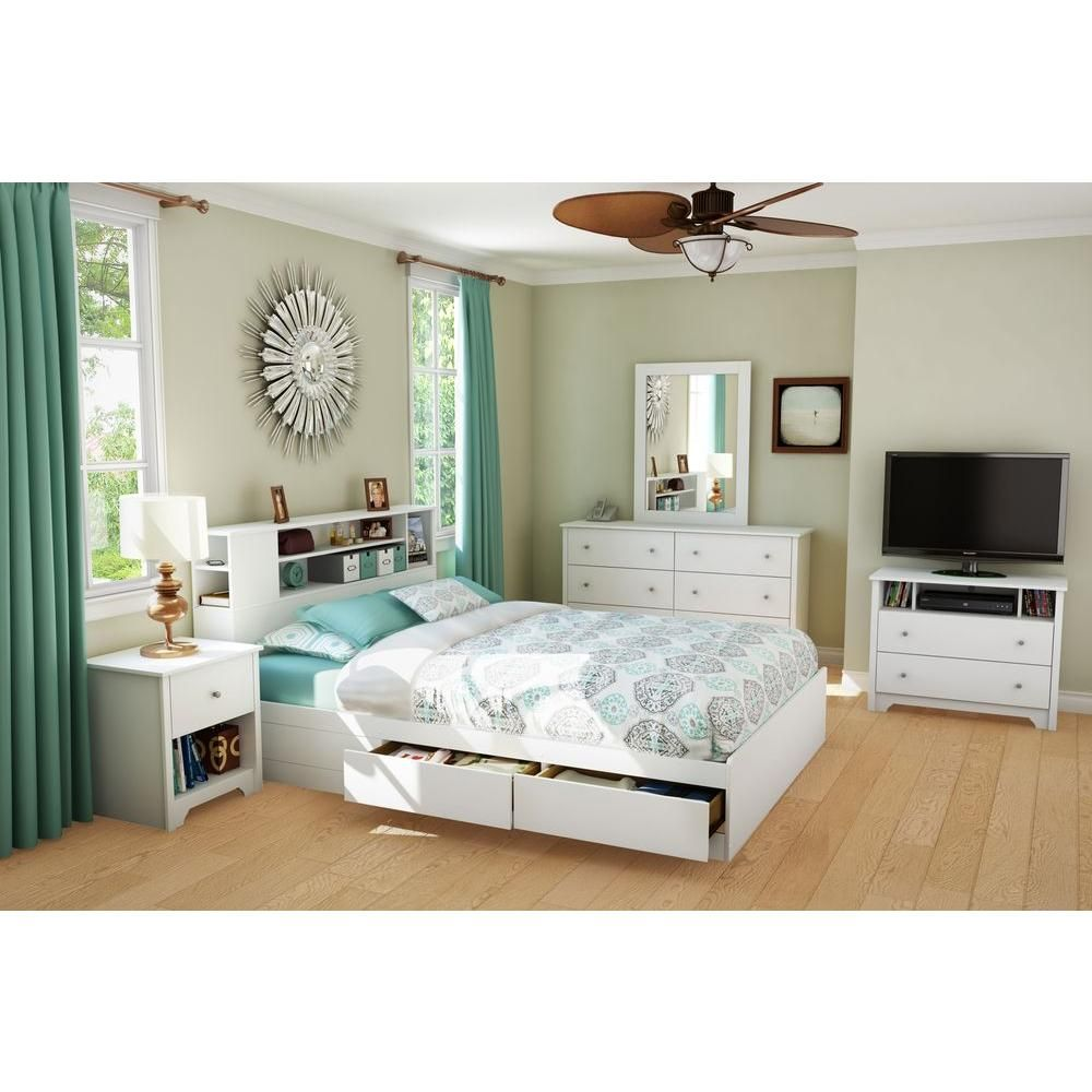 South Shore Vito Full Queen Size Bookcase Headboard In Pure White 3150092 Bed Frame With Drawers Bed With Drawers Bookcase Headboard