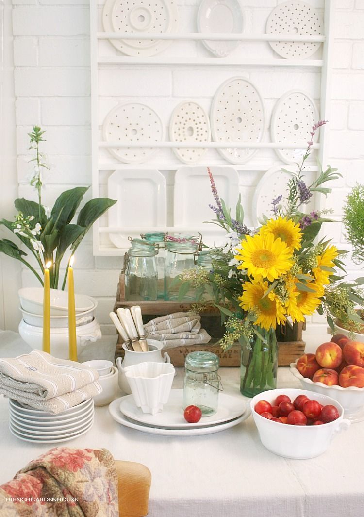 Summer Flowers And Ironstone French Garden House In 2020 Summer Flowers French Garden Summer Tablescapes