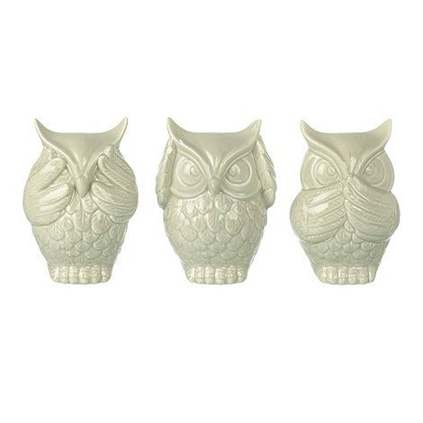 Parlane Ceramic set of three 'See no evil' owls- at Debenhams.ie
