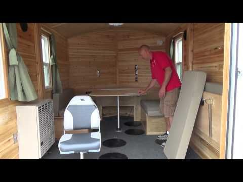 Beberg Outdoors 8x12 V Aluminum Skid House Customized Interior Youtube Ice Shanty Interior Ice Fishing House Fish House