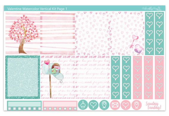 Vertical Valentine Watercolor Weekly Planner by AdorablyAmyDesigns