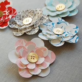 Paper flowers with button center