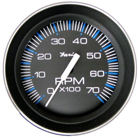Faria Coral Black 4 inch Gauge, 7000RPM Tachometer, All ... on