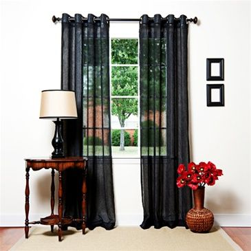 Black Voile Sheer Grommet Curtain 84 Curtains Living Room Home