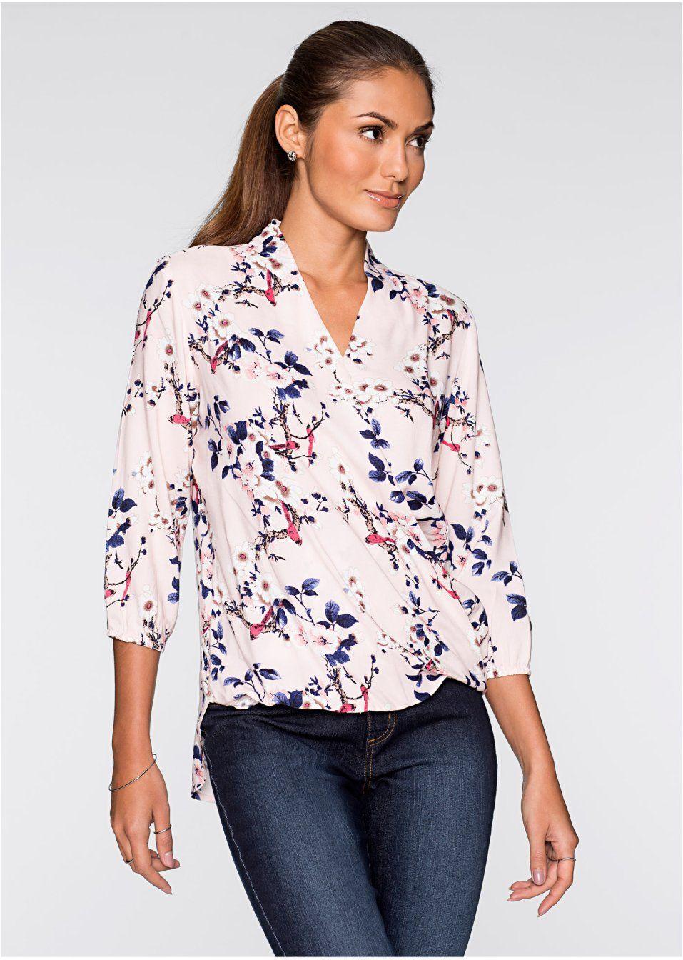 Bluzka W Kwiaty Floral Tops Fashion Women