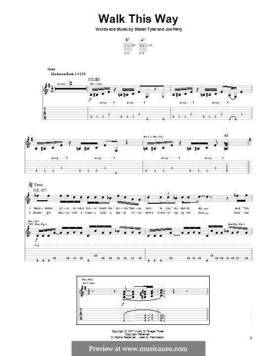 Walk This Way Aerosmith And Run D M C By J Perry S Tyler On Musicaneo Aerosmith Guitar Sheet Music Run Dmc