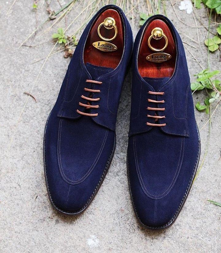 Handmade Blue Color Suede Fashion Shoes, Men's Lace Up