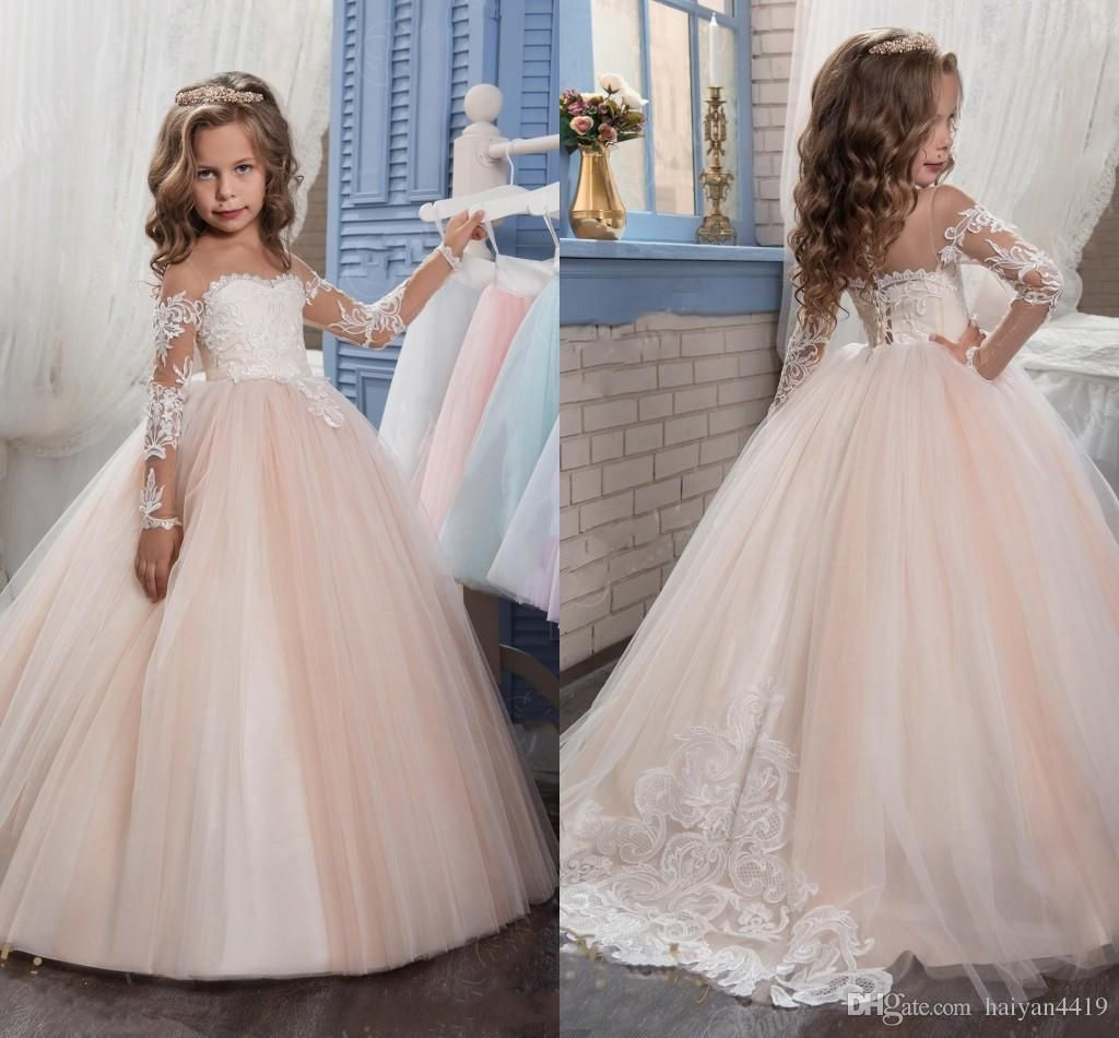 2017 New Flower Girls Dresses For Weddings Jewel Neck Long Sleeves Lace  Appliques Sweep Train Ball Gown Birthday Children Girl Pageant Gown Wedding  Flower ... 14216b933a35