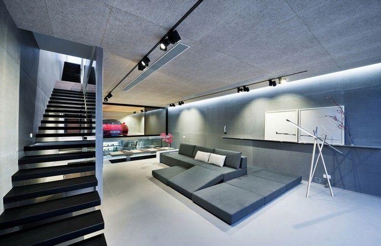 am nagement garage moderne canap bas design plafond en b ton et escalier suspendu hk ia. Black Bedroom Furniture Sets. Home Design Ideas
