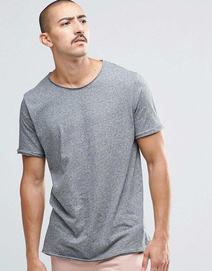 Weekday Dark Raw Edge T-Shirt in Dark Grey Melange at asos.com