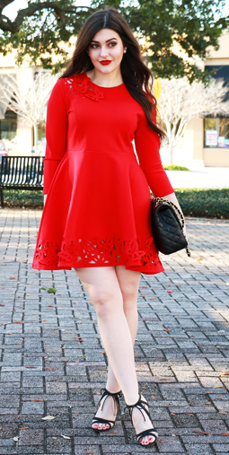 The adorable black Cherie booties by Nina Shoes transform Carly Maddox s  hot red dress into street style chic.