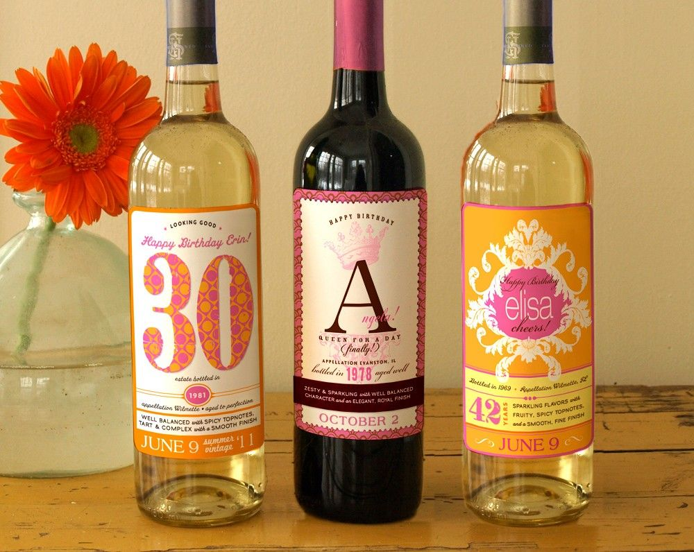Customized wine bottle labels for the birthday girl cute for Cute wine bottles