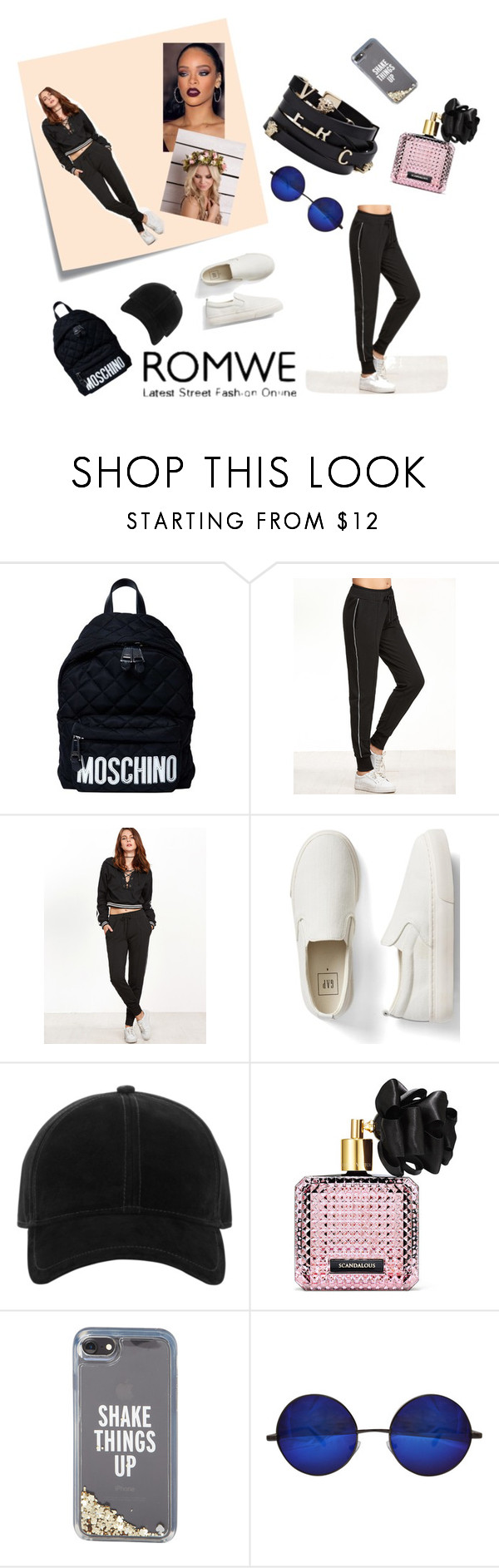 """Contest (romwe)! - Win these black pants!"" by dancerjacy22 ❤ liked on Polyvore featuring Moschino, Post-It, Gap, rag & bone, Versace, Victoria's Secret and Kate Spade"
