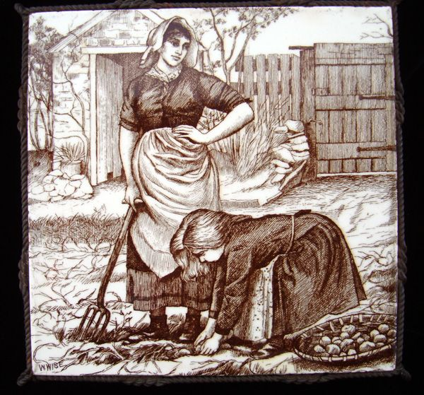 William Wise Country Life Tile Trivet 1882