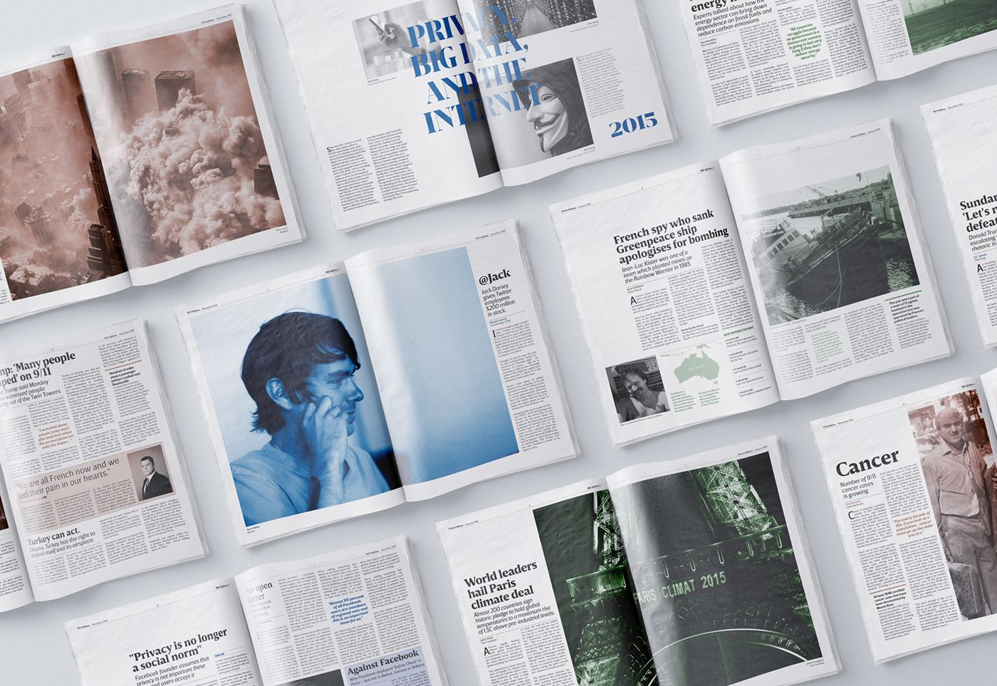 Newspaper layout and basic and design elements to create a global editorial identity. Breakdown is a newspaper really focused on a good photography art direction line, pages where blank spaces and text blocks are balanced in order to play with composition…