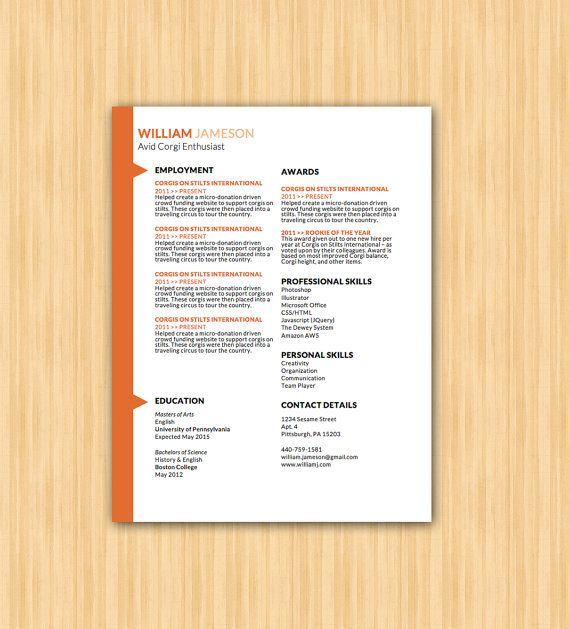 The Jameson Design  Easy To Edit Professional Resume Template