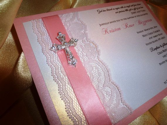Baptism   Christening Invitation sample Pink by TheRainbowColors - sample baptismal invitation for twins