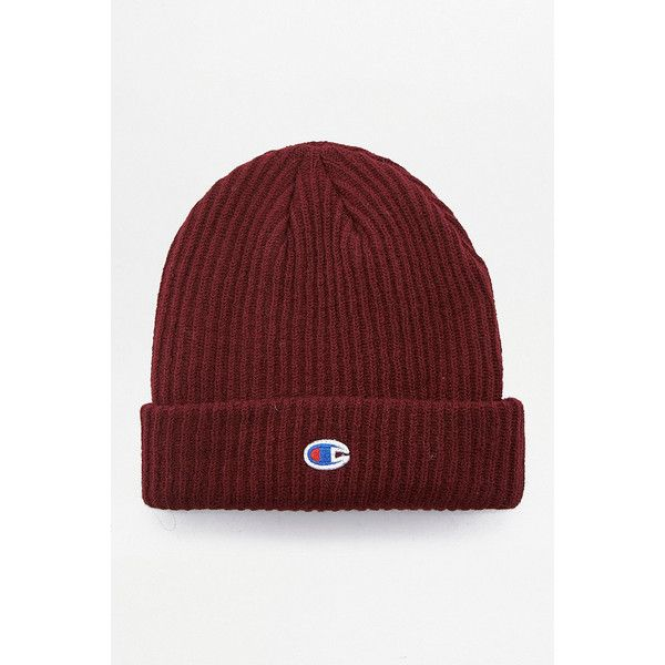 28df7d84 Champion Burgundy Reverse Weave Beanie ($44) ❤ liked on Polyvore featuring  men's fashion, men's accessories, men's hats, maroon, mens knit hats, mens  knit ...
