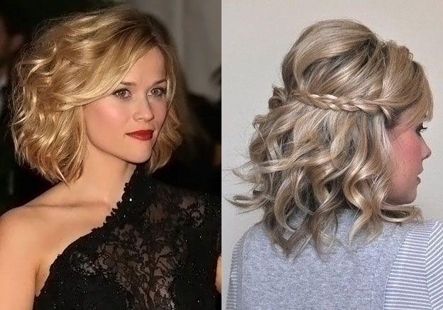Праздничная причёска на средние волосы с чёлкой фото на