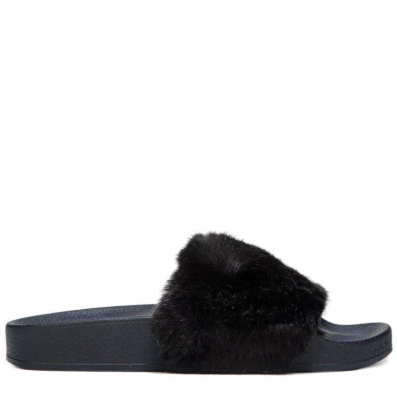 be0929d7cc8 Steve Madden Kids  Jsoftey Fur Sandal Pre Grade School Sandals (Black) -  5.0 M