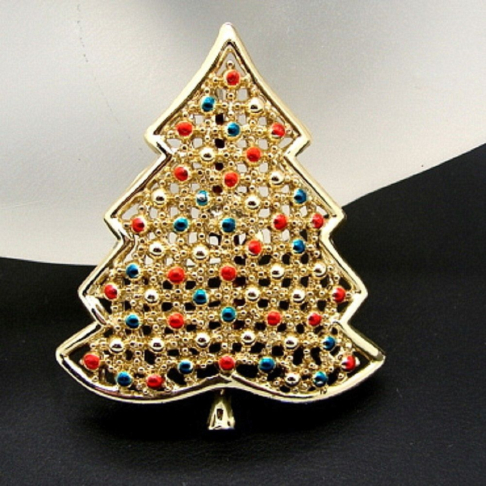 goldtone christmas tree pin brooch enamel blue red ornaments balls ebay free shipping 1990