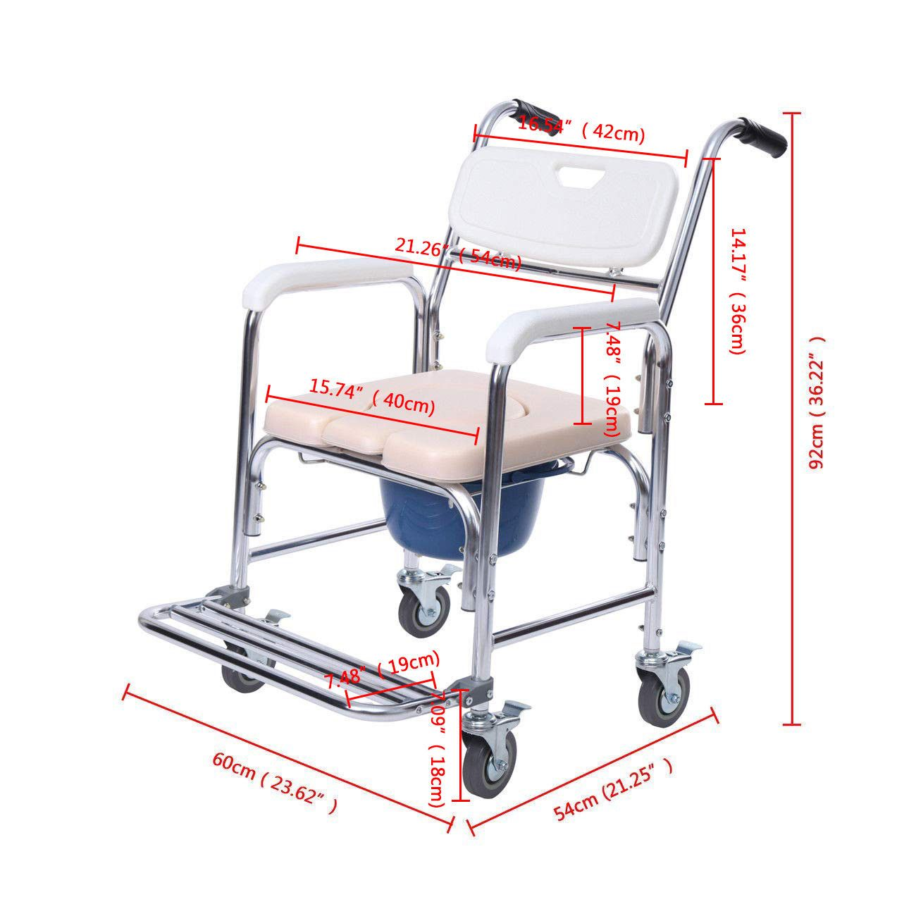 Details about Aluminum Mobile Shower Commode Chair Bedside