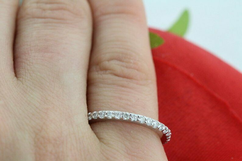 1//5Ct Diamond Half-Way Micro Pave 14K White Gold Band Ring 1.8Mm Wide