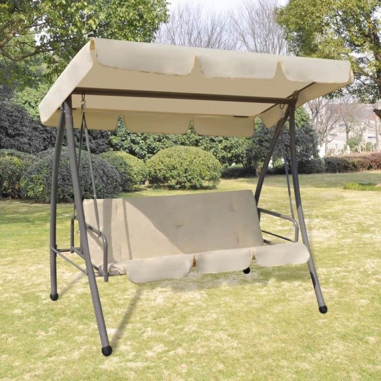 Details About Outdoor Swing Chair Bed Canopy White Patio Hanging Benches Back Cushion Seats Swing Chair Outdoor Swinging Chair Patio Swing Chair