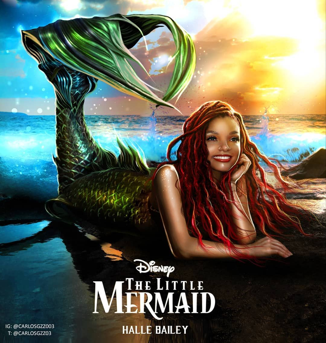 """Carloz Gzz on Instagram: """"HALLE BAILEY as ARIEL 🧜♀️💚💙🌊 ARTwork by Me.  @chloexhalle is Officially Pla…   Little mermaid movies, Halle bailey, The little  mermaid"""