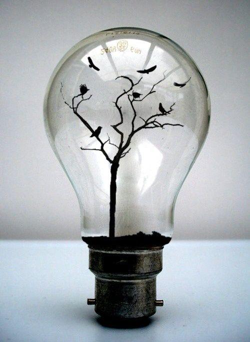 lightbulbs bare. (2 Ravens And An Owl In A Bare Tree Lightbulbs D