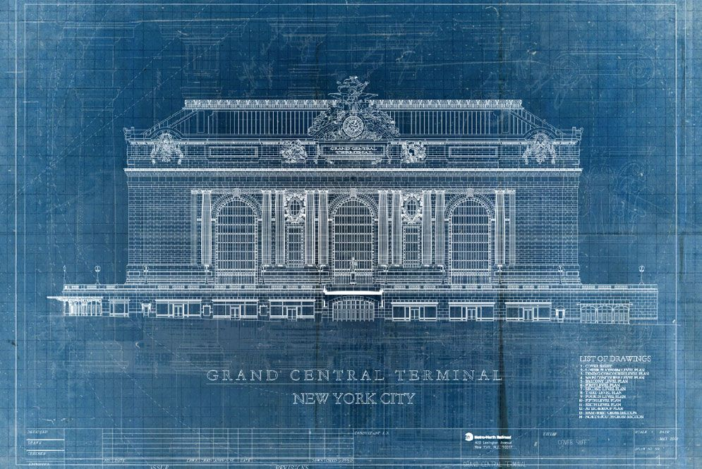 Blueprint of grand central station wall mural rollout custom blueprint of grand central station wall mural rollout custom wallpaper malvernweather Image collections