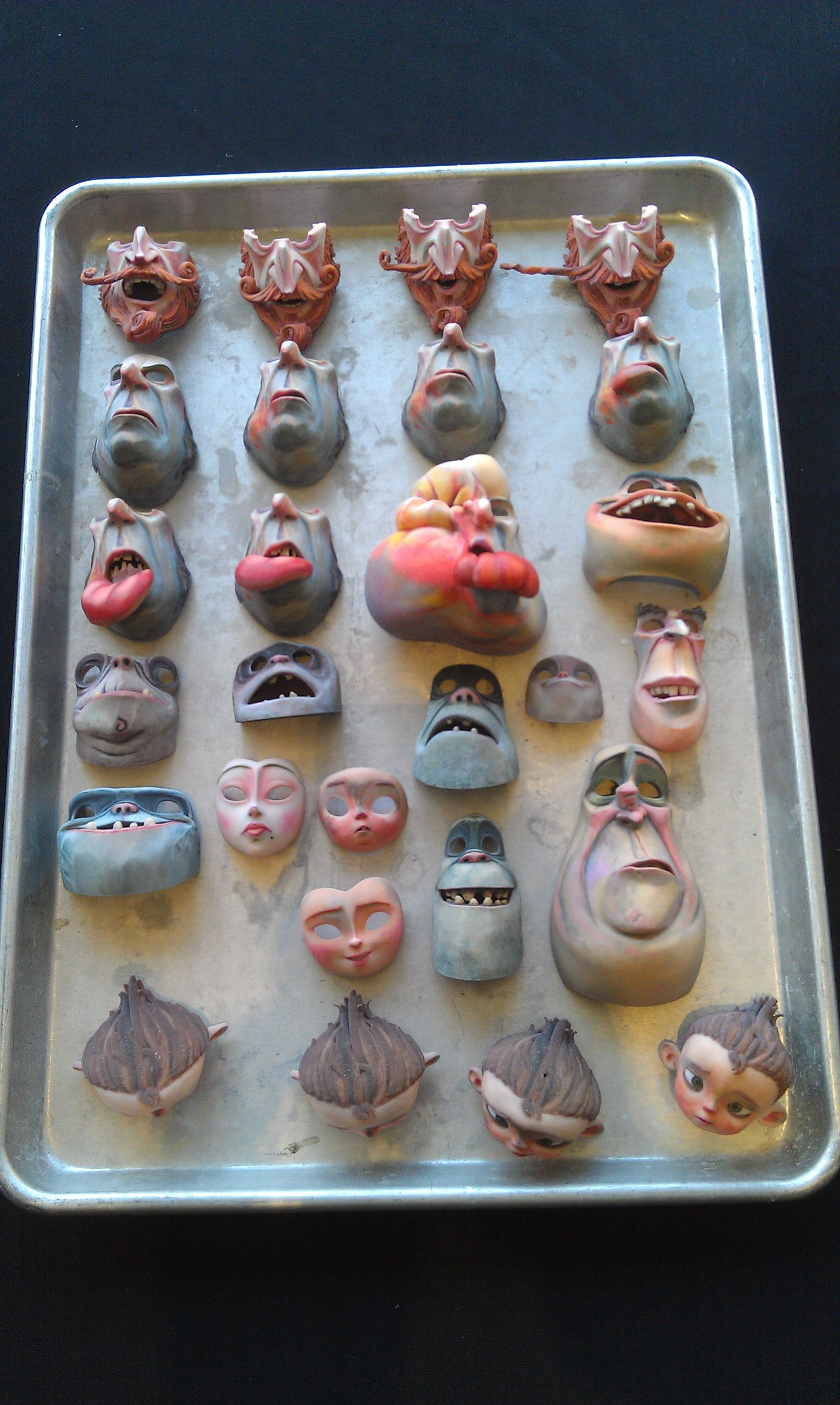 Faces from The Boxtrolls displayed at the Laika Perspective, W. Hollywood