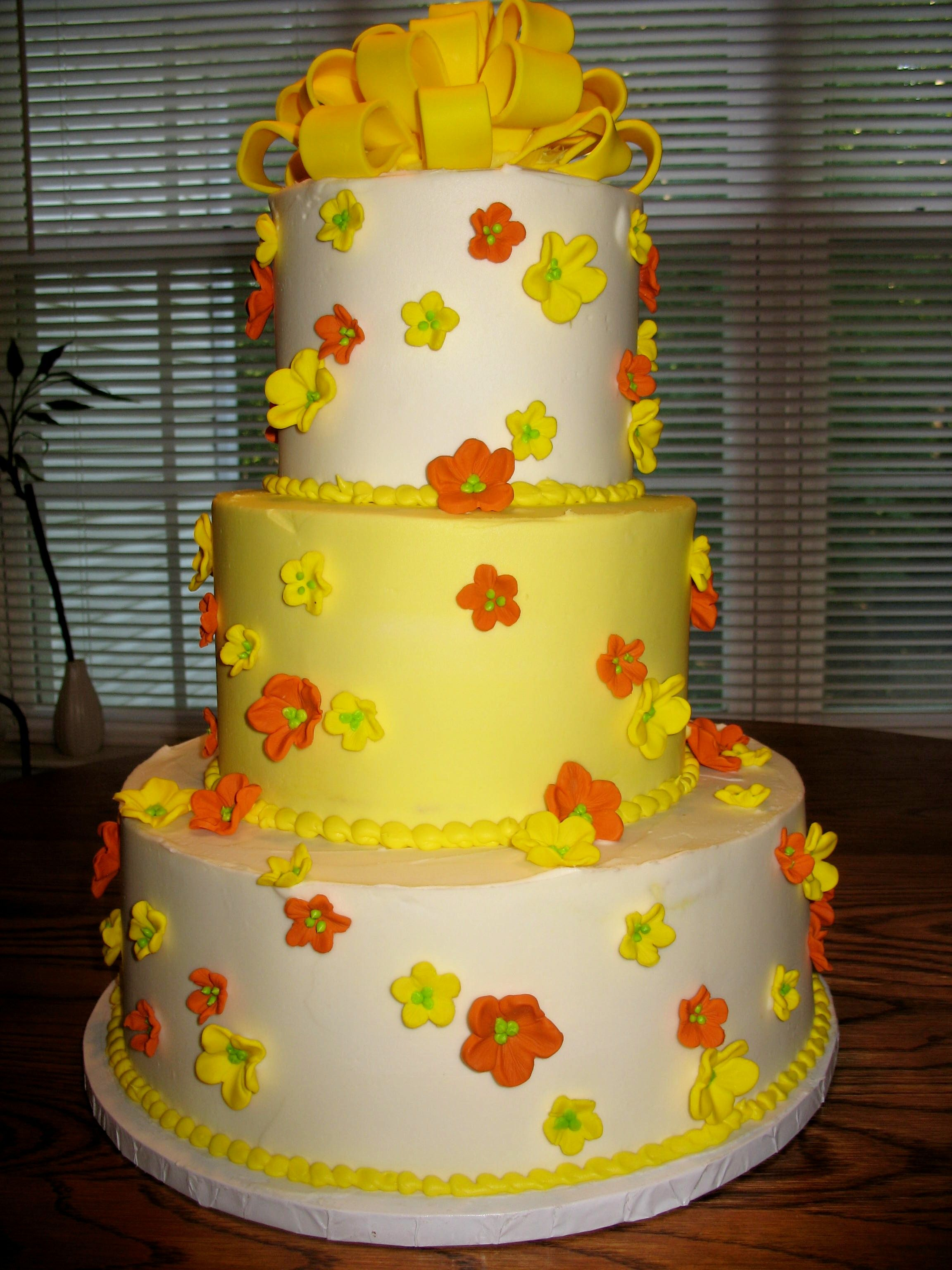 Yellow And Orange Floral Wedding Cake Cheesecakeetcbiz Cakes Charlotte NC